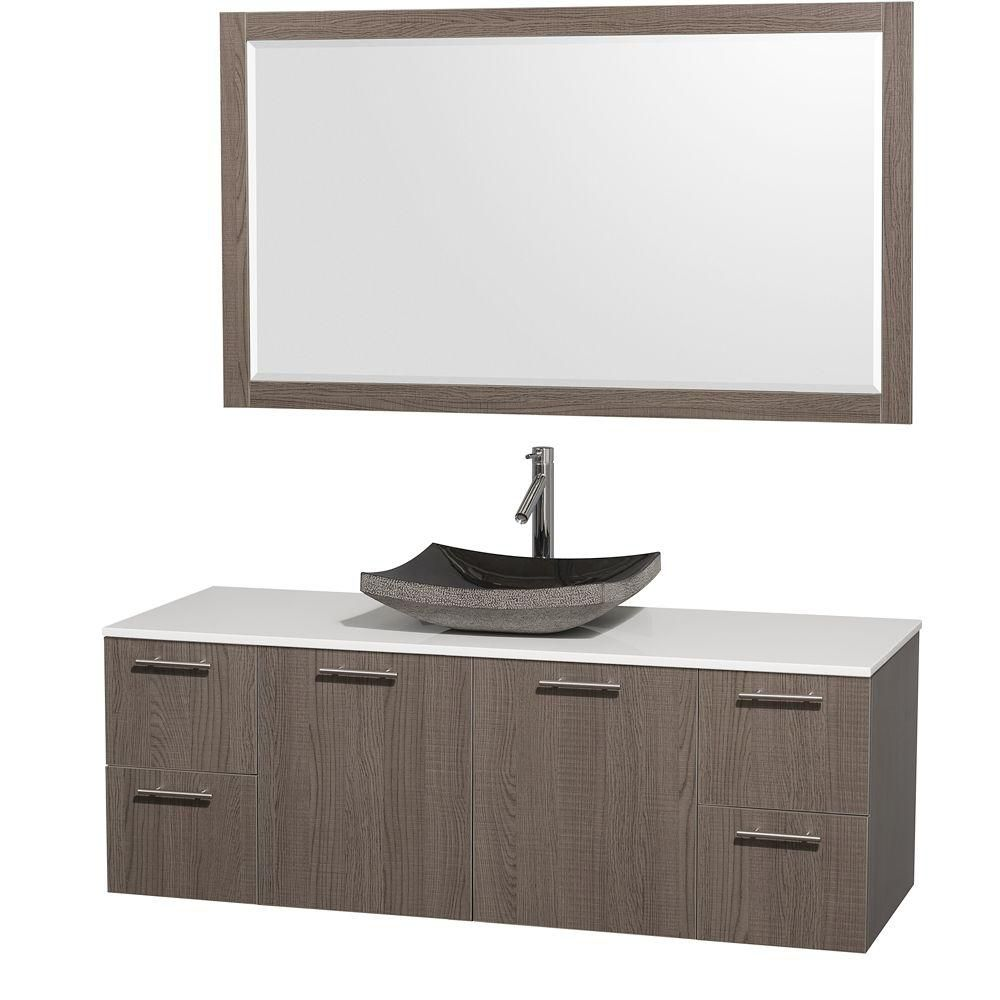 Amare 60-inch W 4-Drawer 2-Door Wall Mounted Vanity in Grey With Artificial Stone Top in White