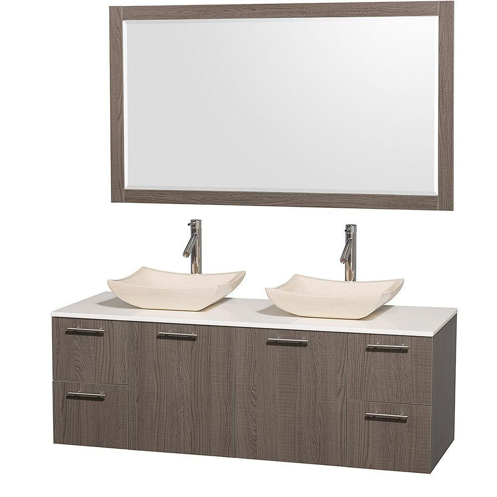 Amare 60-inch W Double Vanity in Grey Oak with Stone Top in White and Marble Sinks