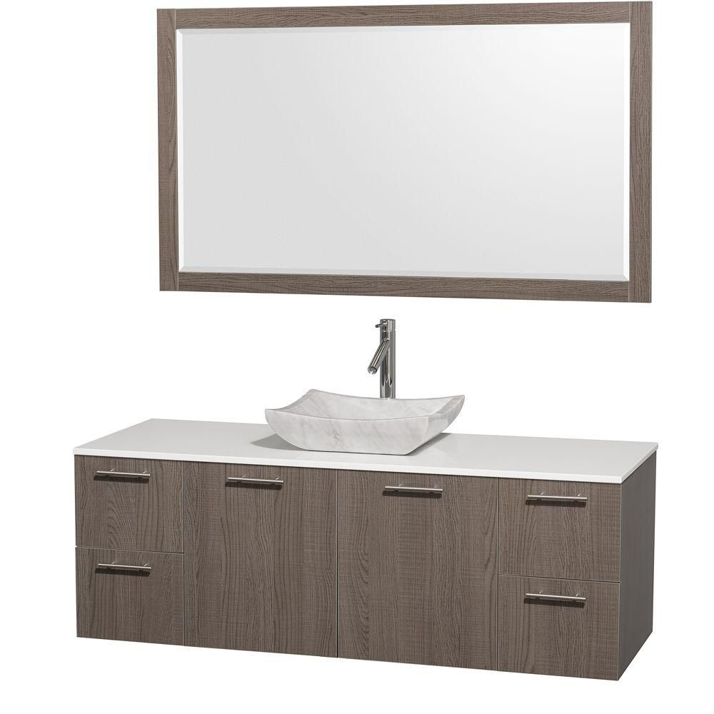 Amare 60-inch W Vanity in Grey Oak with Stone Top in White and Marble Sink