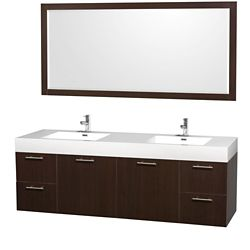 Wyndham Collection Amare 72-inch W 4-Drawer 2-Door Wall Mounted Vanity in Brown With Acrylic Top in White, 2 Basins