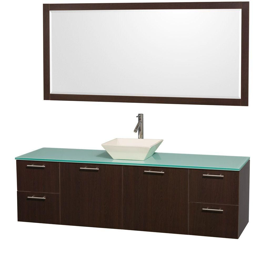 Amare 72-inch W Vanity in Espresso with Glass Top and Bone Porcelain Sink
