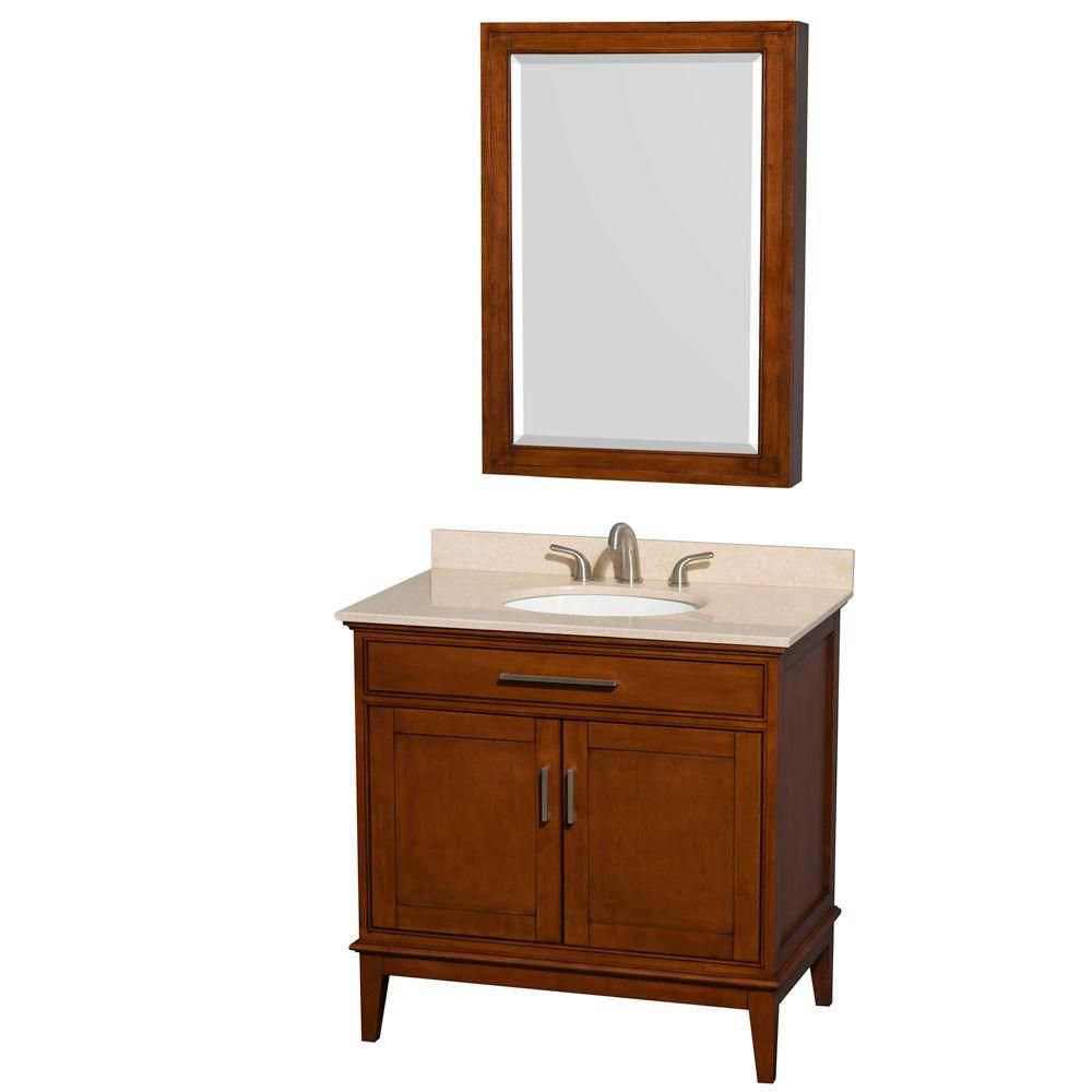 Hatton 36-inch W Vanity in Light Chestnut with Marble Top in Ivory, Sink and Medicine Cabinet