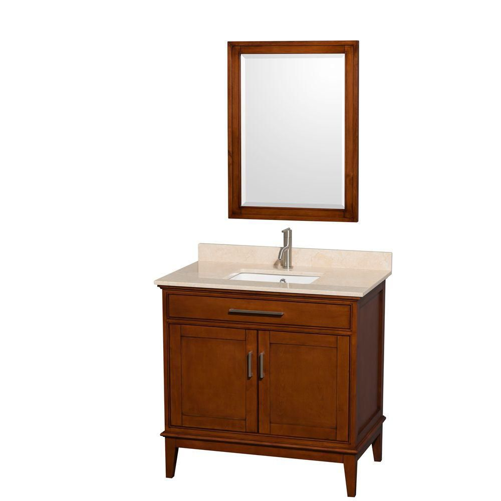 Hatton 36-inch W Vanity in Light Chestnut with Marble Top in Ivory, Square Sink and Mirror
