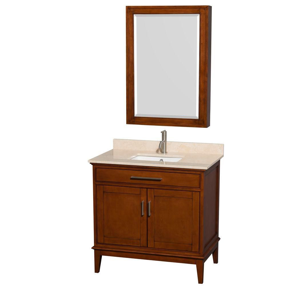 Hatton 36-inch W Vanity in Light Chestnut with Marble Top in Ivory, Square Sink and Medicine Cabi...