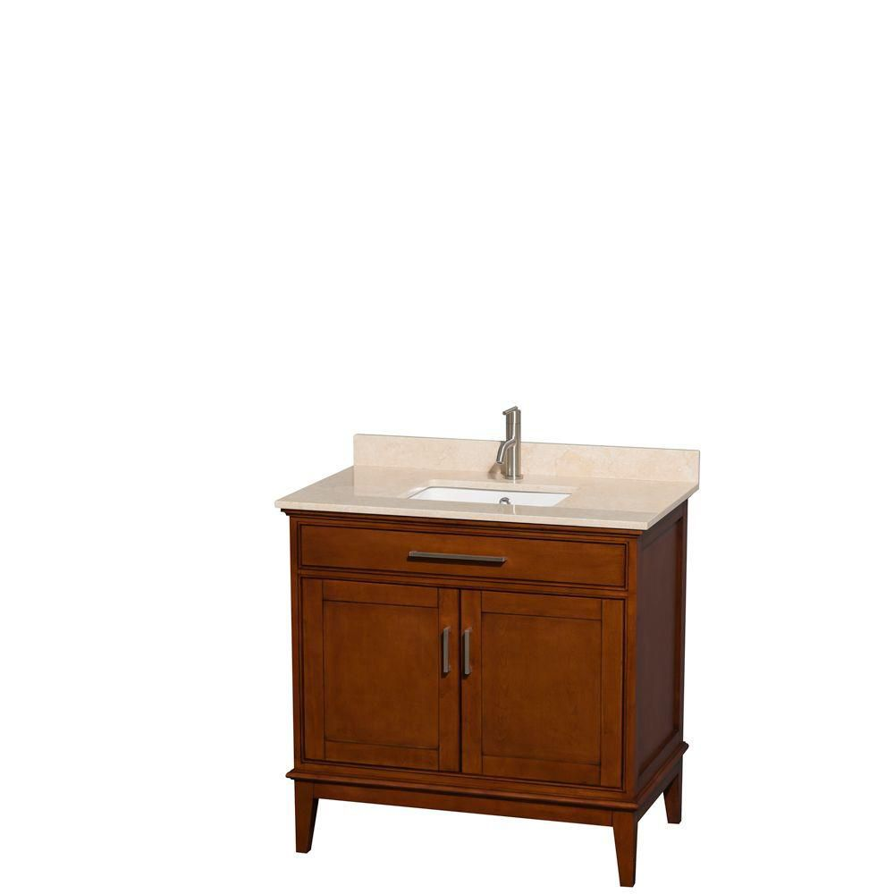 Hatton 36-inch W Vanity in Light Chestnut with Marble Top in Ivory and Square Sink