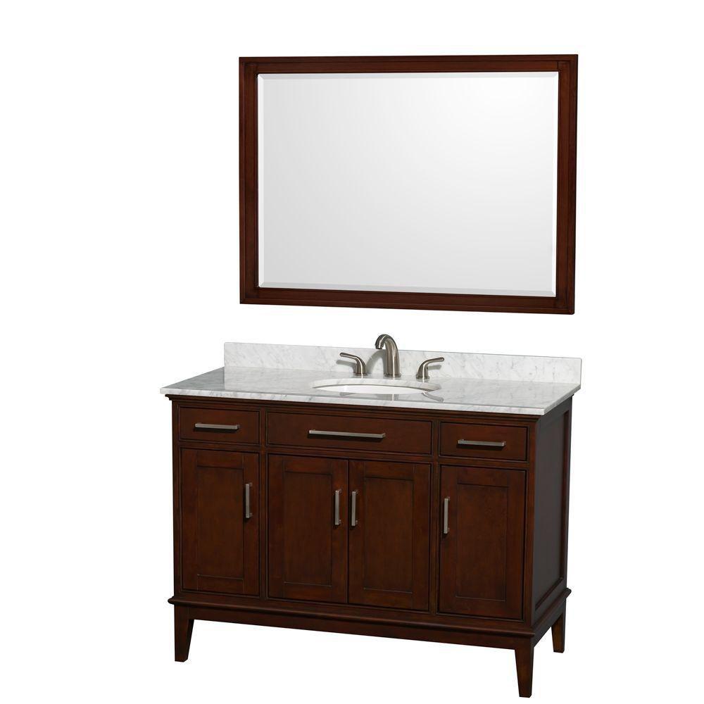 Hatton 48-inch W Vanity in Dark Chestnut with Marble Top in Carrara White and 44-inch Mirror