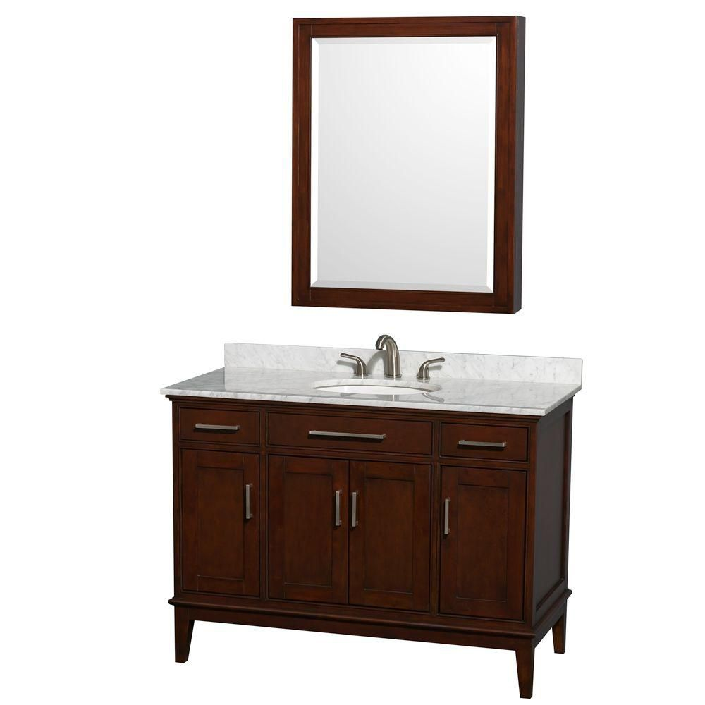 Hatton 48-inch W Vanity in Dark Chestnut with Marble Top in Carrara White and Medicine Cabinet