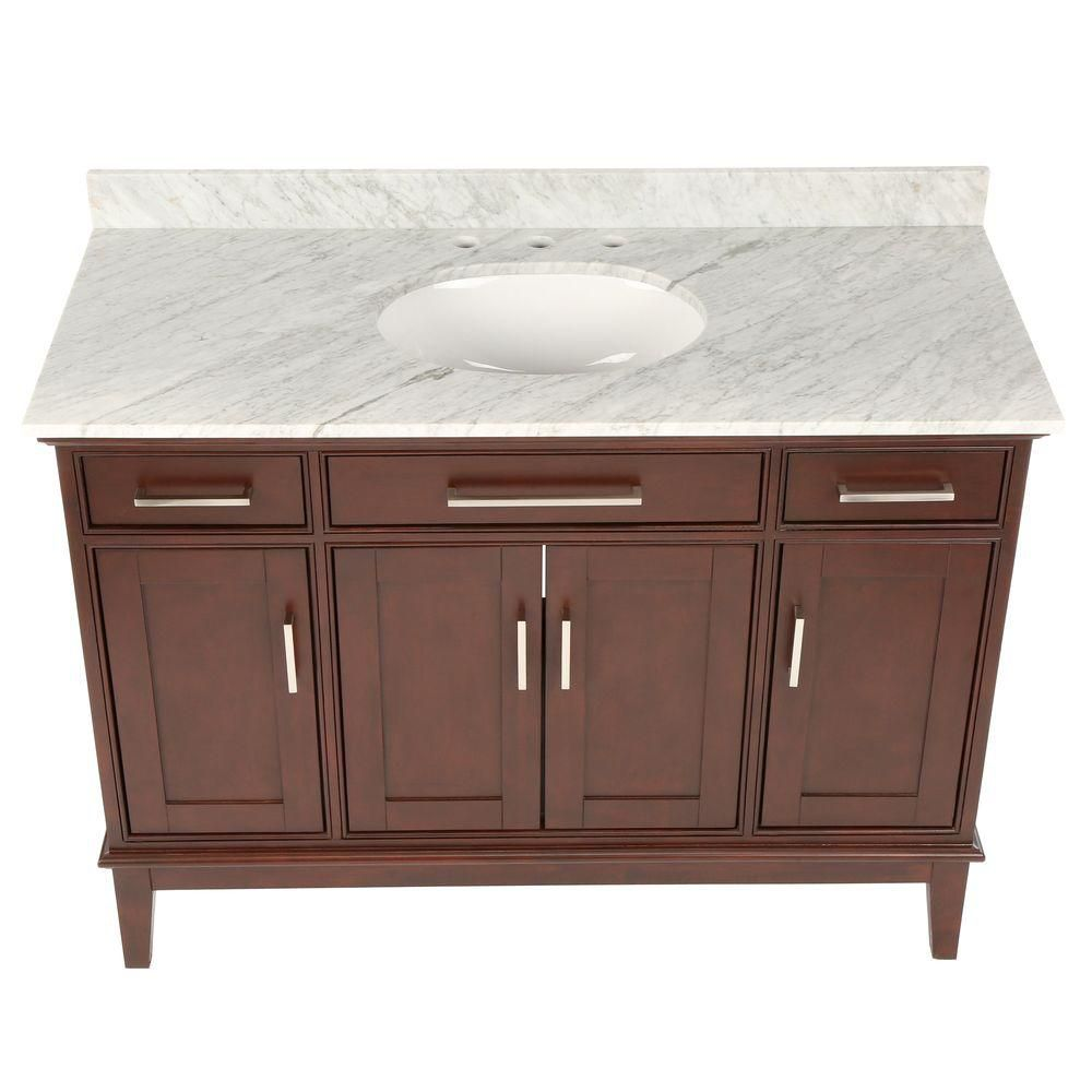 Hatton 48-inch W Vanity in Dark Chestnut with Marble Top in Carrara White and Oval Sink