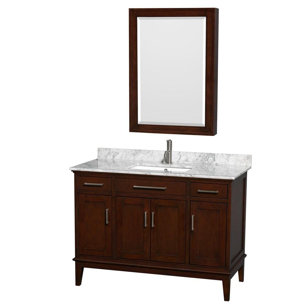 Hatton 48-inch W Vanity in Dark Chestnut with Marble Top, Square Sink and Medicine Cabinet