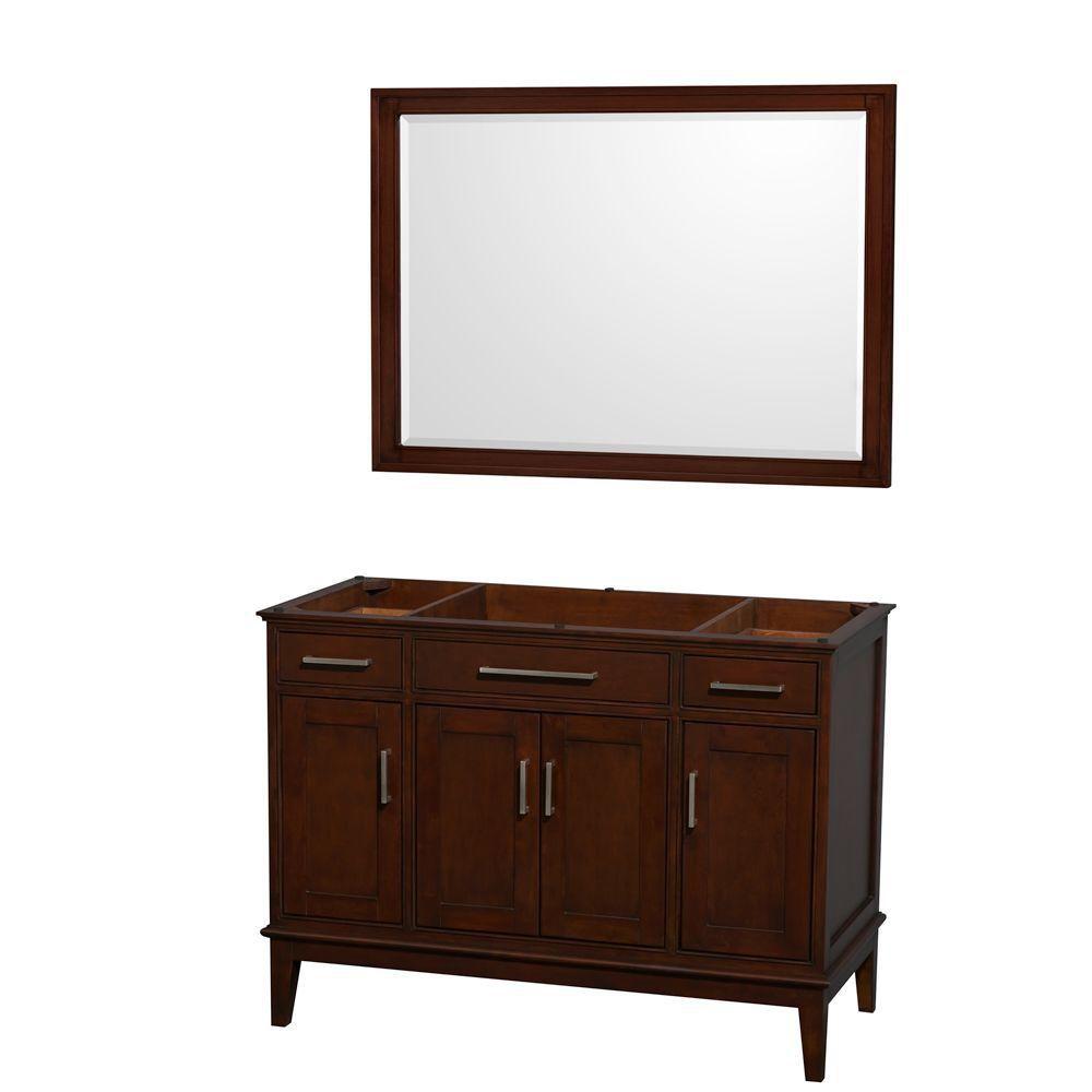 Hatton 47-Inch  Vanity Cabinet with Mirror in Dark Chestnut