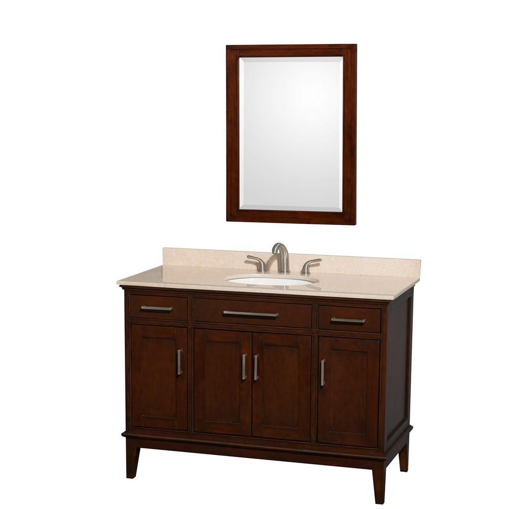Hatton 48-inch W Vanity in Dark Chestnut with Marble Top in Ivory and 24-inch Mirror