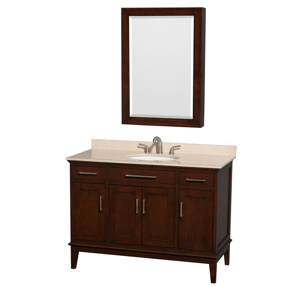 Hatton 48-inch W Vanity in Dark Chestnut with Marble Top in Ivory, Sink and Medicine Cabinet