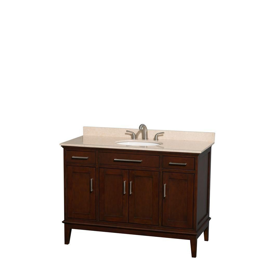 Hatton 48-inch W Vanity in Dark Chestnut with Marble Top in Ivory and Oval Sink