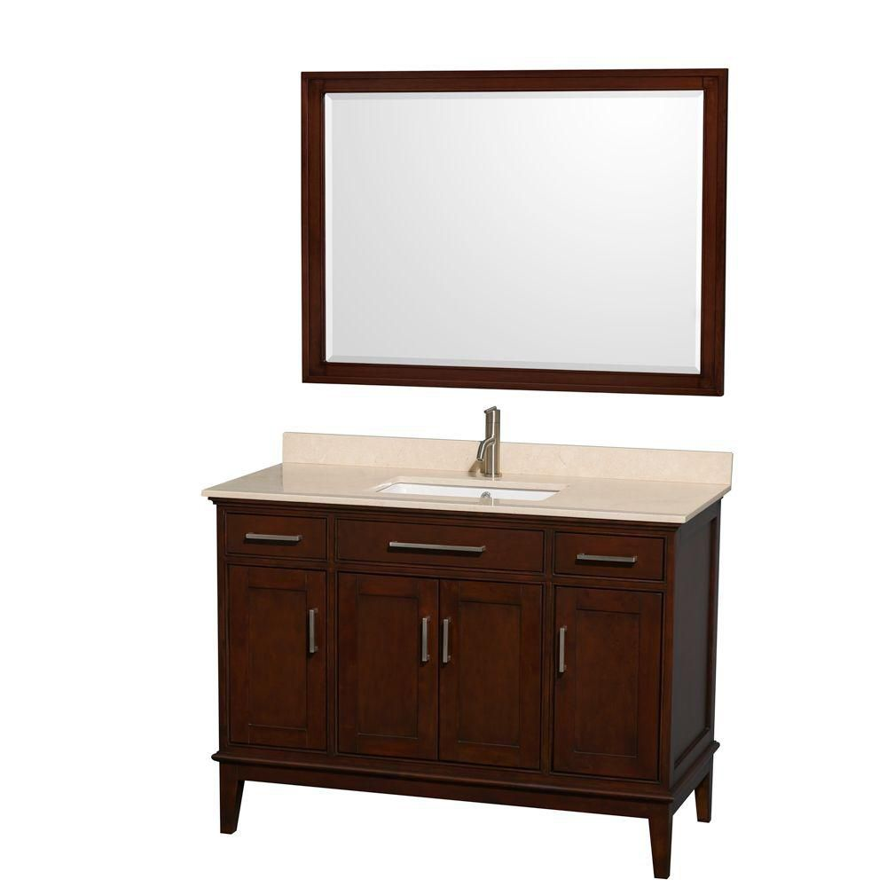 Hatton 48-inch W Vanity in Dark Chestnut with Marble Top in Ivory, Square Sink and Mirror