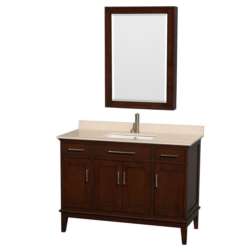 Hatton 48-inch W Vanity in Dark Chestnut with Marble Top in Ivory, Square Sink and Medicine Cabin...