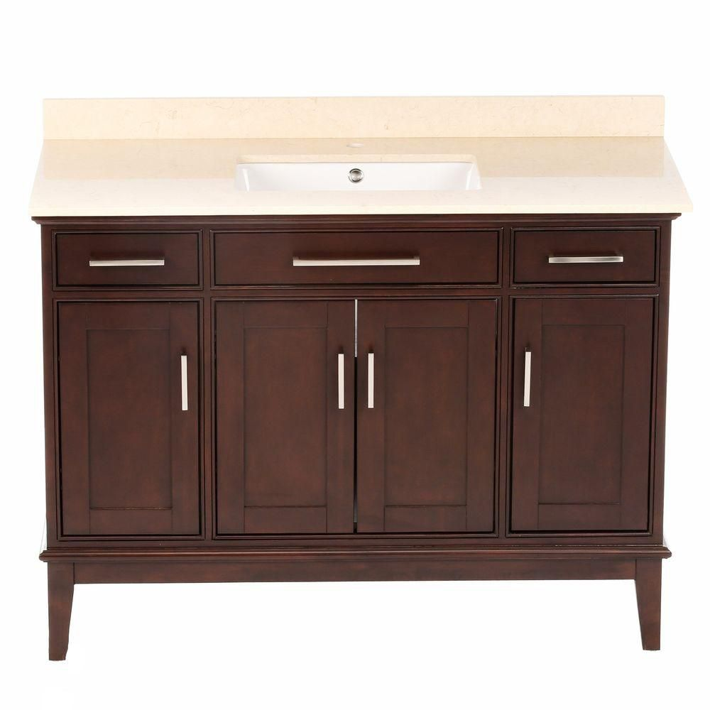 Hatton 48-inch W Vanity in Dark Chestnut with Marble Top in Ivory and Square Sink