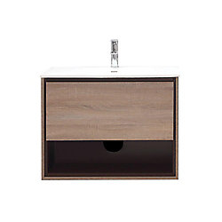 Avanity Sonoma 31.5-inch W Wall Mounted Vanity in Brown With Ceramic Top in White