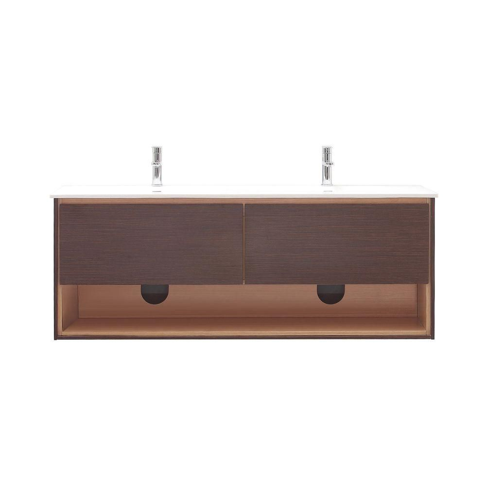 Sonoma 63-inch W Vanity in Iron Wood Finish with Solid Surface in White