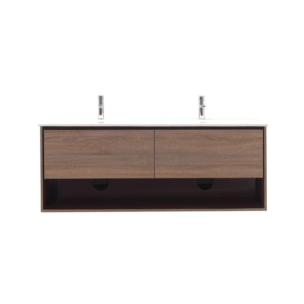 Sonoma 63-inch W Wall Mounted Vanity in Brown With Ceramic Top in White