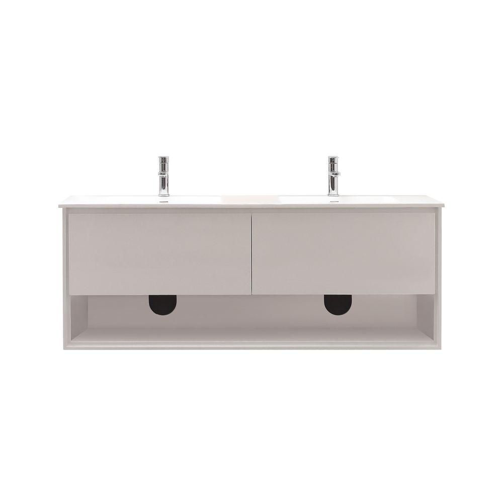 Sonoma 63-inch W Wall Mounted Vanity in White With Ceramic Top in White