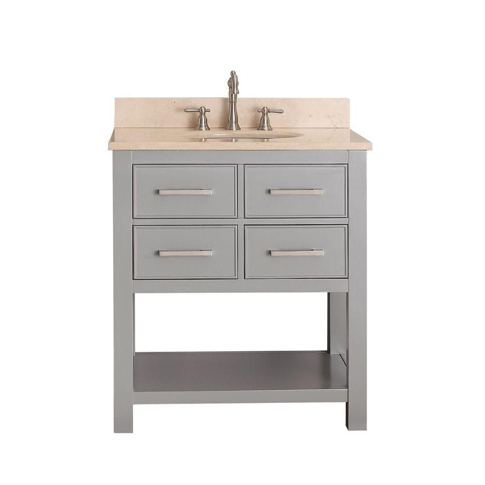 Brooks 30-inch W Vanity in Chilled Grey Finish with Marble Top in Gala Beige