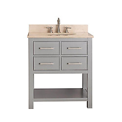 Avanity Brooks 31-inch W 2-Drawer Freestanding Vanity in Grey With Marble Top in Beige Tan
