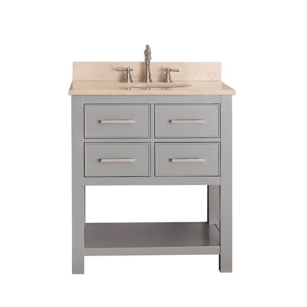 Avanity Brooks 31-inch W 2-Drawer Freestanding Vanity in Grey With Marble Top in Beige Tan