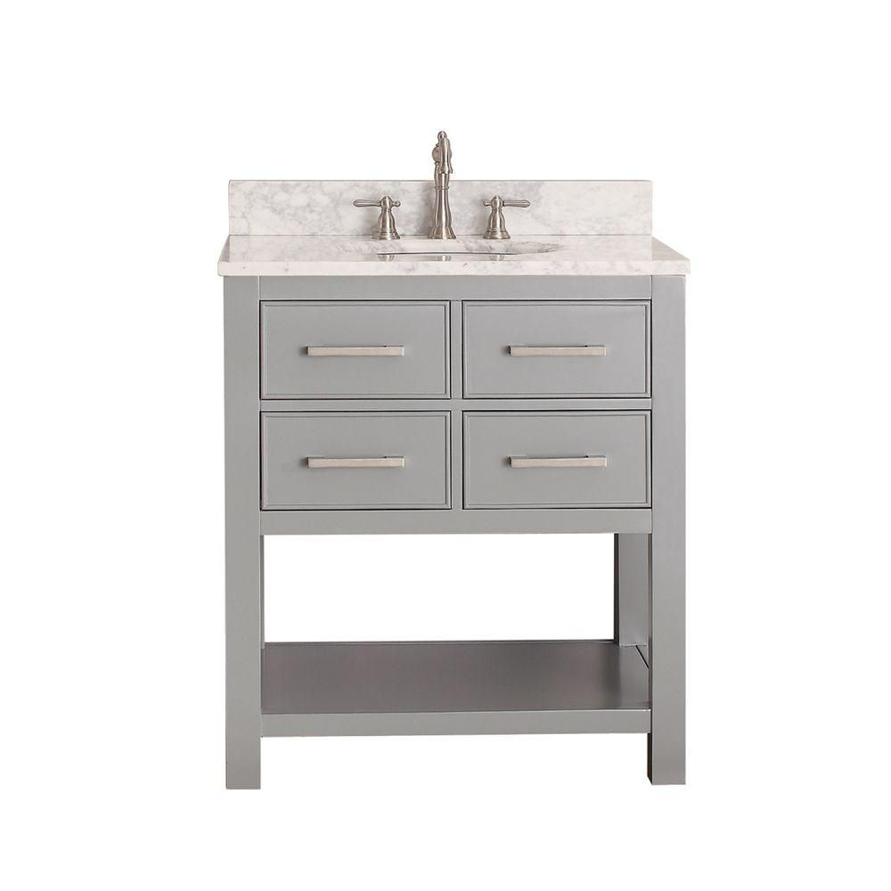 Brooks 30-inch W Vanity in Chilled Grey with Marble Top in Carrara White