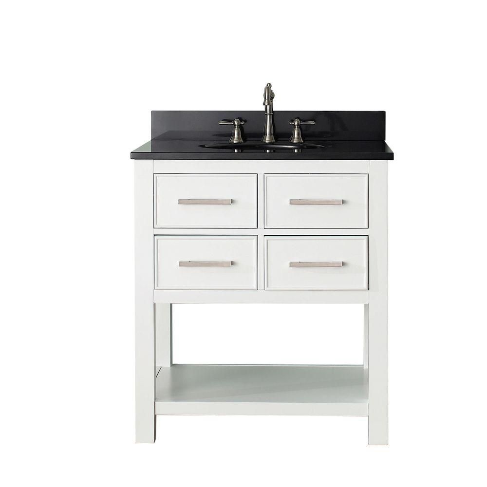 Brooks 31-inch W 2-Drawer Freestanding Vanity in White With Granite Top in Black