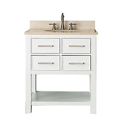 Avanity Brooks 31-inch W 2-Drawer Freestanding Vanity in White With Marble Top in Beige Tan