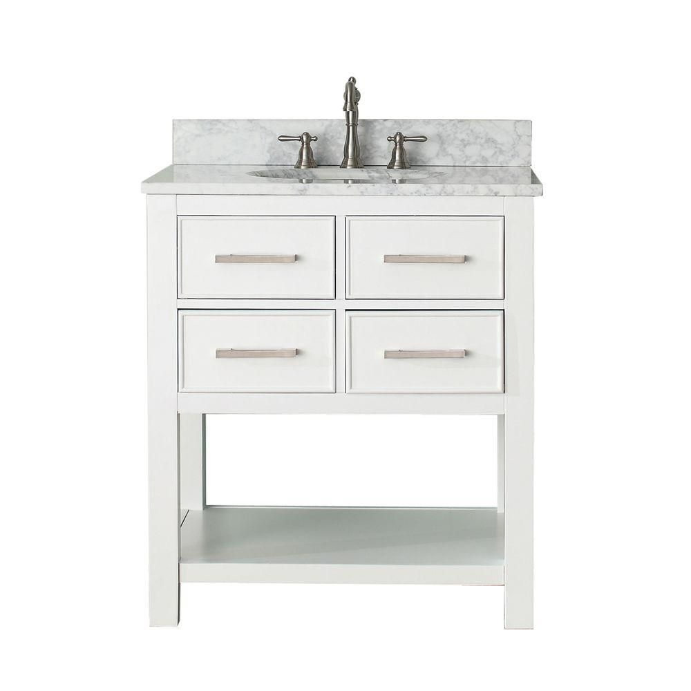 Brooks 30-inch W Vanity in White with Marble Top in Carrara White