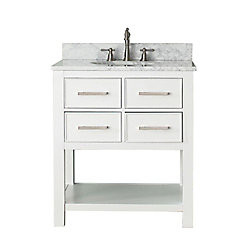 Avanity Brooks 31-inch W 2-Drawer Freestanding Vanity in White With Marble Top in White