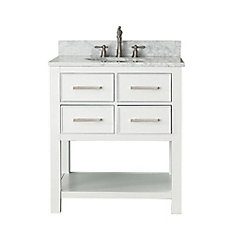 Brooks 31-inch W 2-Drawer Freestanding Vanity in White With Marble Top in White