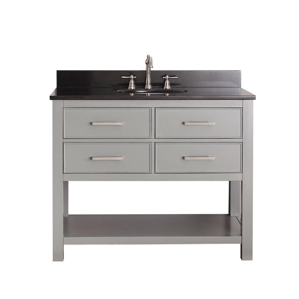 Brooks 42-inch W Vanity in Chilled Grey Finish with Granite Top in Black