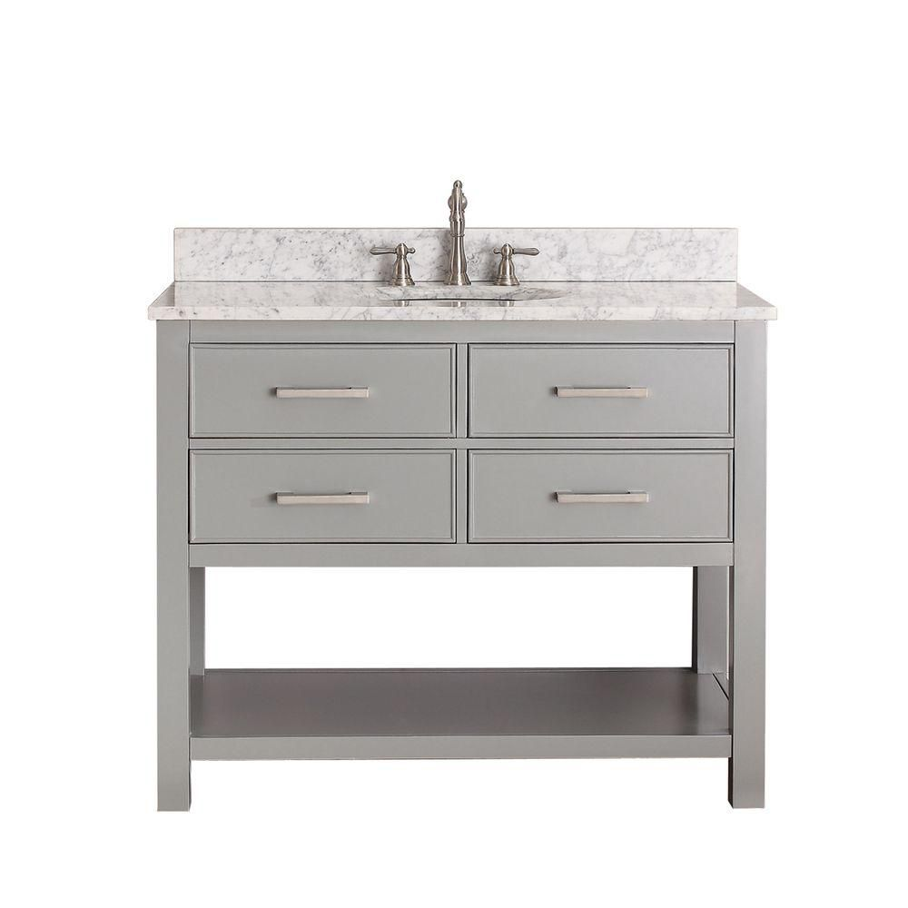 Avanity Brooks 43-inch W 2-Drawer Freestanding Vanity in Grey With Marble Top in White