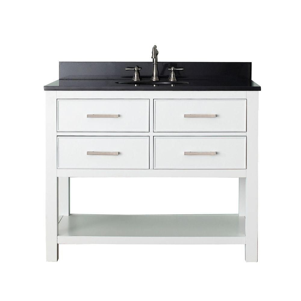 Brooks 43-inch W 2-Drawer Freestanding Vanity in White With Granite Top in Black