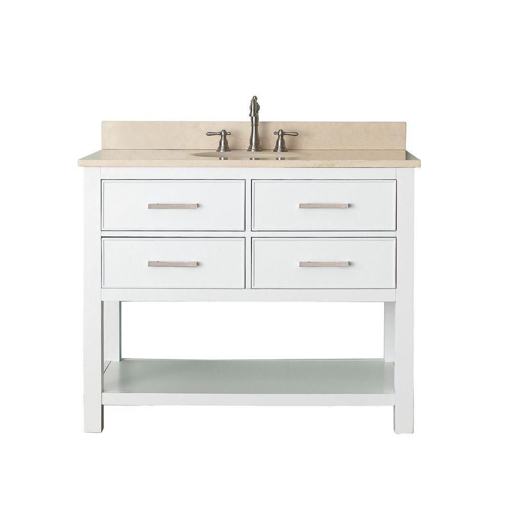 Avanity Brooks 43-inch W 2-Drawer Freestanding Vanity in White With Marble Top in Beige Tan