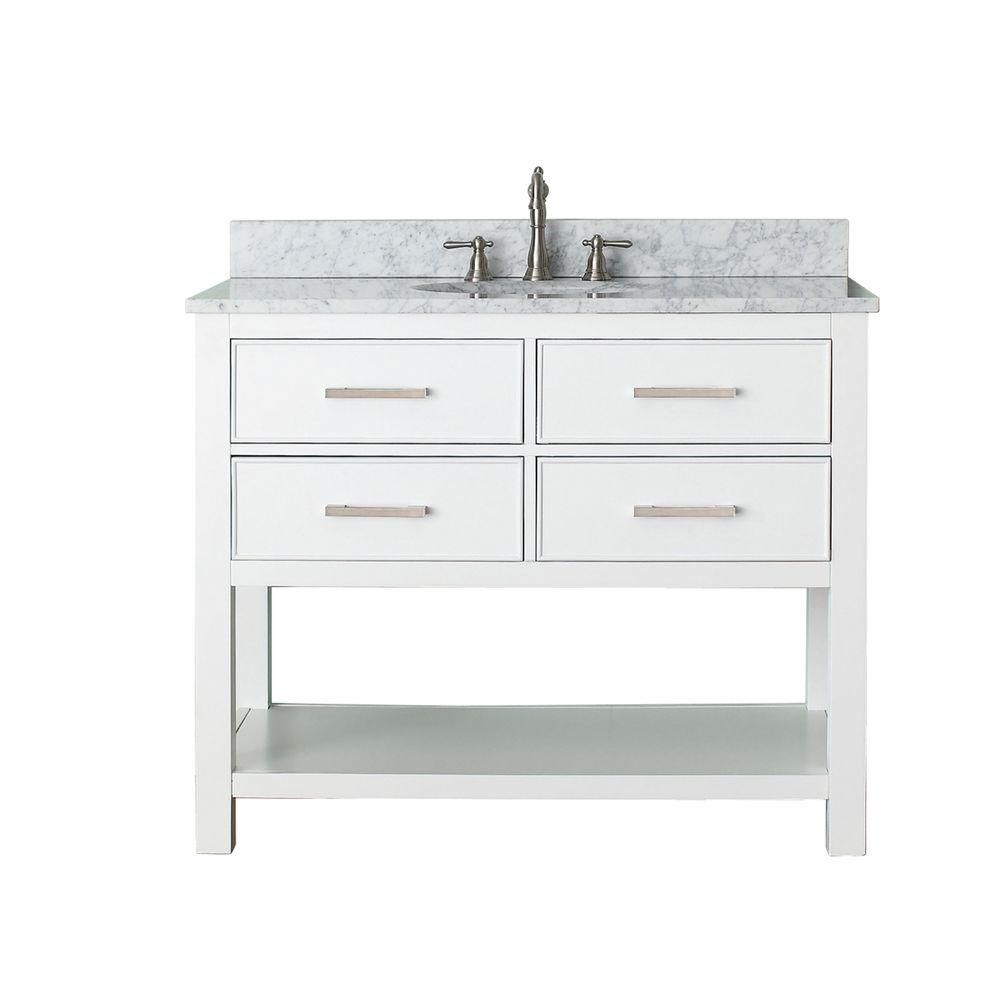 Brooks 42-inch W Vanity in White with Marble Top in Carrara White