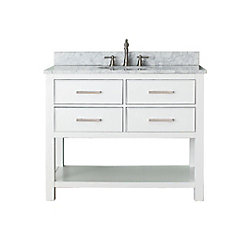Brooks 43-inch W 2-Drawer Freestanding Vanity in White With Marble Top in White