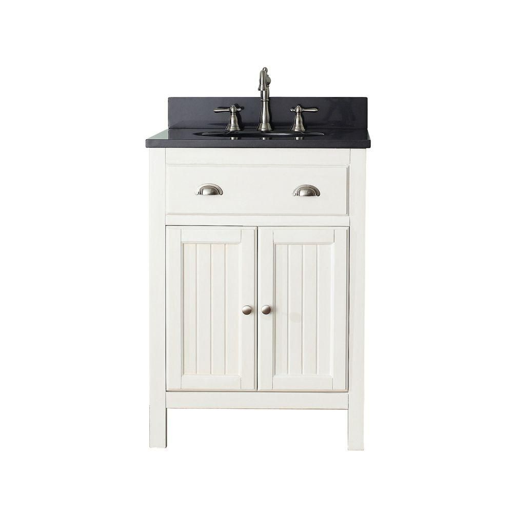 Hamilton 24-inch W Vanity in French White Finish with Marble Top in Gala Beige
