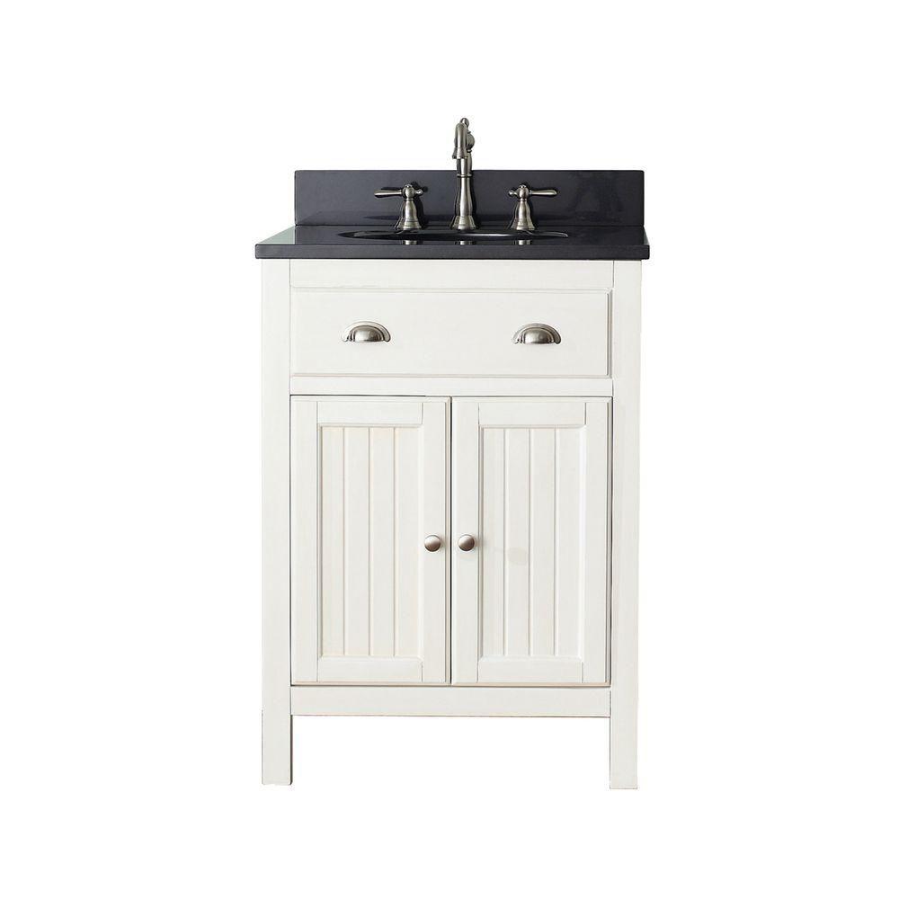 Avanity Hamilton 25-inch W 2-Door Freestanding Vanity in White With Granite Top in Black