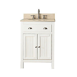 Avanity Hamilton 25-inch W 2-Door Freestanding Vanity in White With Marble Top in Beige Tan