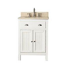 Hamilton 25-inch W 2-Door Freestanding Vanity in White With Marble Top in Beige Tan