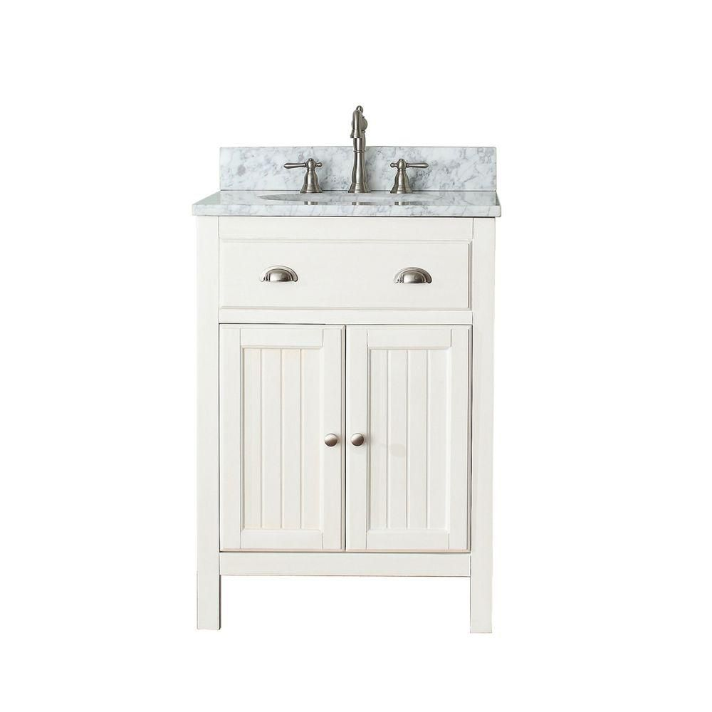 Hamilton 24-inch W Vanity in French White Finish with Marble Top in Carrara White