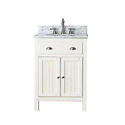 Avanity Hamilton 25-inch W 2-Door Freestanding Vanity in White With Marble Top in White