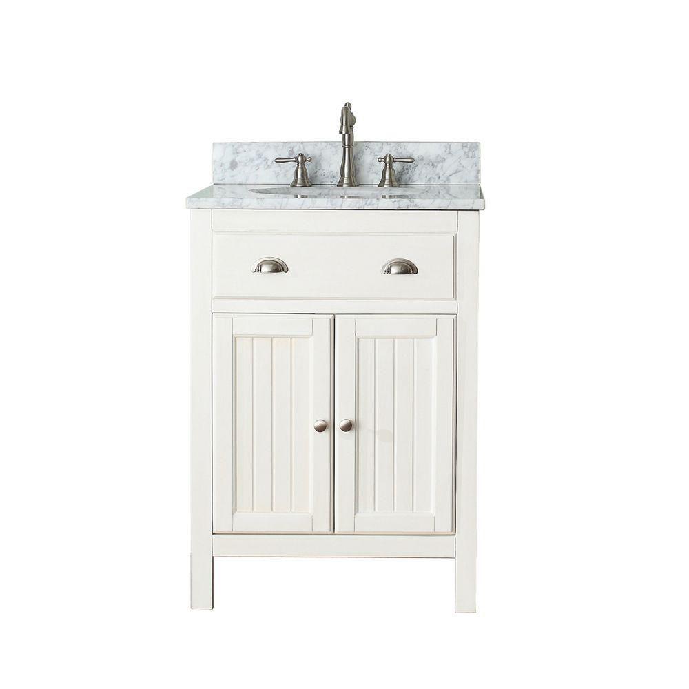 Avanity Hamilton 25-inch W 2-Door Freestanding Vanity in White With Marble Top in White