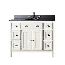 Avanity Hamilton 43-inch W 6-Drawer 2-Door Freestanding Vanity in White With Granite Top in Black