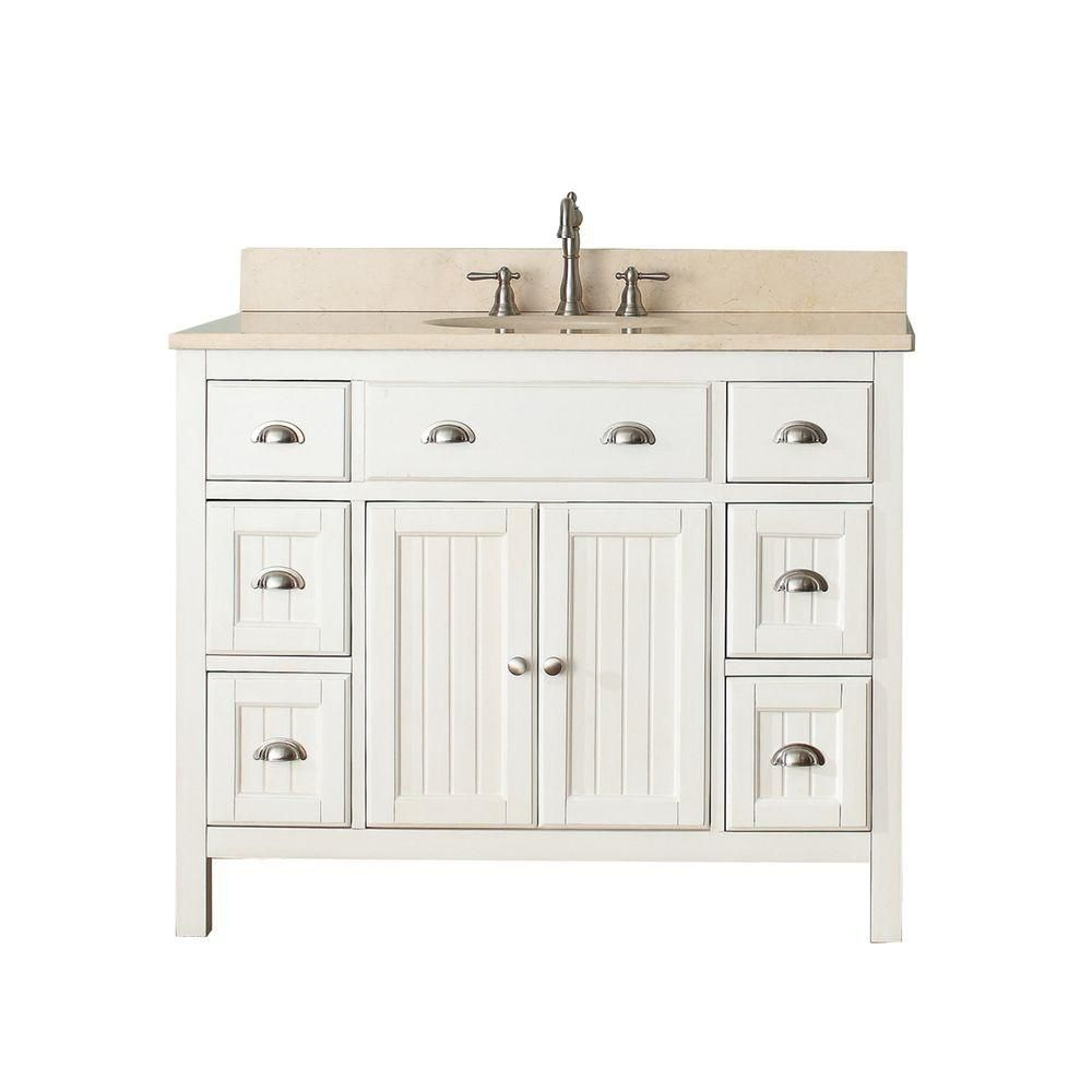 Hamilton 42-inch W Vanity in French White with Marble Top in Gala Beige