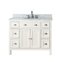 Avanity Hamilton 43-inch W 6-Drawer 2-Door Freestanding Vanity in White With Marble Top in White