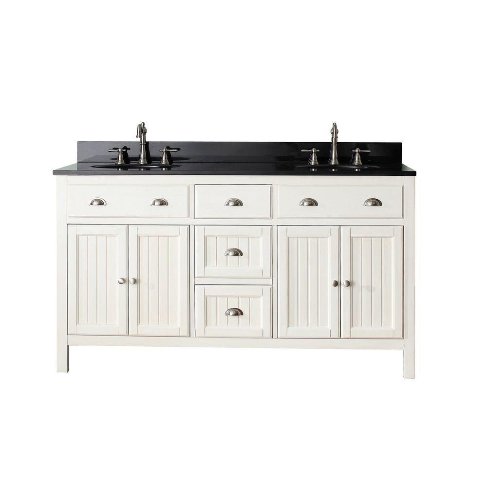 Avanity Hamilton 61-inch W 3-Drawer 4-Door Vanity in White With Granite Top in Black, Double Basins